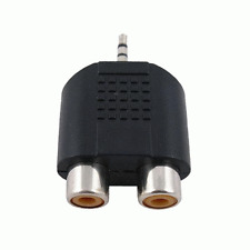 New 3.5mm Stereo Jack to 2x RCA Cinch Socket Audio Adapter