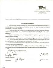 1989 seattle mariner topps contract jay buhner,sy berger signed autograph