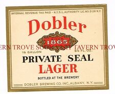 Unused 1960s MASSACHUSETTS Hampden-Harvard DOBLER PRIVATE SEAL BEER 16oz Label