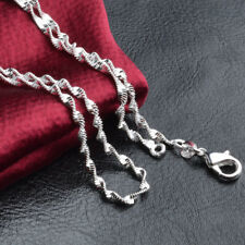 925sterling solid Silver lots 1pcs 2mm Water waves chain Necklace 16inch E
