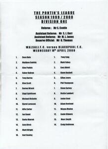 Saddlers : Walsall RESERVES v Blackpool 2000 1999/00 Pontins League