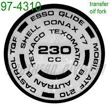 TRIUMPH FORK top end plug transfer 97-4310 230 CC FORK OIL OIF ADESIVI Forcella Olio