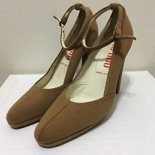 Miu Miu tan canvas textile ankle strap heels shoes platform Pumps 38 8 prada
