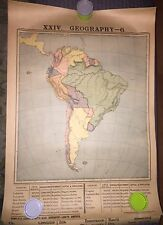 Antique 1887 POSTER Color Map School Chart South America Brazil Columbia