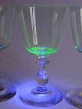 3 ANCIENS VERRES A VIN ROUGE CRISTAL VERT URANE VASELINE GLASS ht 13 cm