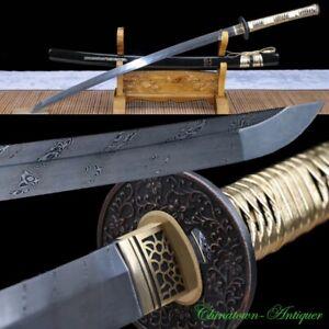 Japanese Katana Samurai Sword Rotary Forging Pattern Steel Blade Sharp #2583