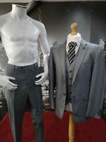 """New Mens Grey Cavani 3 Piece Suit Chest 38"""" Waist 32"""" Peaky Blinders RRP £199.99"""
