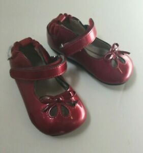 Robeez Baby Girl Patent Leather Dress Shoes Sz 3 Red Bow Mary Jane