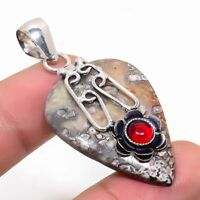 "Ravishing Tube Agate, Red Onyx Handmade Ethnic Style Jewelry Pendant 1.97"""