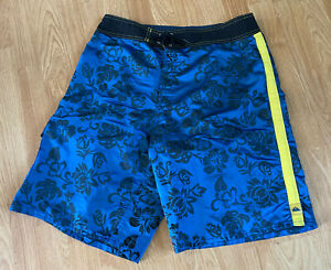 Vintage Reflective Blue Flower 100% Nylon Made USA Quiksilver Surf Board Shorts