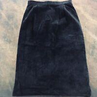 Women's Richard Warren Black Suede Skirt Size 12 Fully Lined Waist Band Back Zip