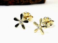 333 kleine Blumen Ohrstecker   6mm Größe 1 Paar mit Zirkonia Steinen