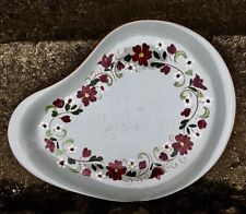 """VINTAGE STANGL POTTERY 13 1/4"""" CASUAL PLATTER 'GARLAND PATTERN' GRAY RED FLOWERS"""