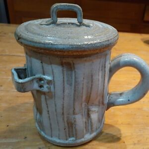 Pandemonium 1981 pottery mug  Rustic trash can mug w/ lid fish bones
