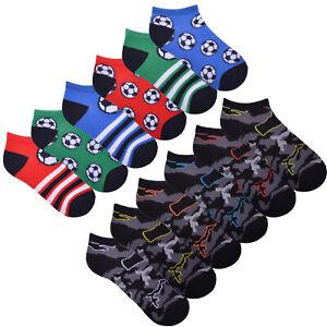 Boys 6 Pack Camo Trainer Liner Socks Design Football Liners Cotton Rich Socks