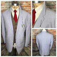 Saddlebred Mens Cotton Blue White Seersucker Jacket Mens Size 54 Long Tropical