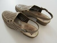 RIEKER Antistress Womens Tan Leather Very Low Heel Shoes Sandals - Size 6.5