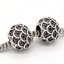 5pcs Tibetan silver European Charm Spacer beads fit Necklace Bracelet Chain #73