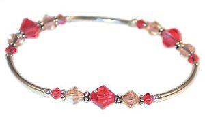 PEACH & PADPARADSCHA Crystal Bracelet Bali Sterling Silver Swarovski Elements