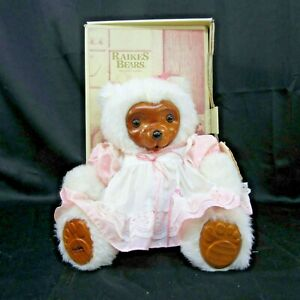 """Vintage Raikes Bears Mother's Day '89 Annie 15"""" Wooden Face White Pink Dress"""