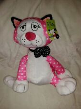 Toy Factory Plush Polka Dot Pink Kitty Cat 15 IN Tall Pink & White