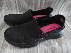 NEW Skechers 12032 MEMORY FOAM Black WOVEN TEXTILE Slip On Shoes WOMEN SZ 10