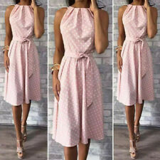 Women Vingate Polka Dot Dresses Dress Knee Length Sundress Evening Party UK
