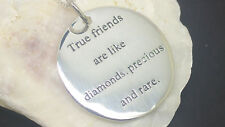 Solid 925 sterling silver true friends pendant & chain with free gift box