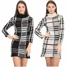 New Ladies Long Sleeve Polo Neck Knitted Tartan Midi Bodycon Jumper Dress Top
