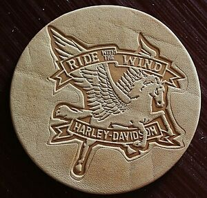 Leather Embossing Stamp HARLEY DAVIDSON Ride w/ the Wind for Veg Tanned Leather
