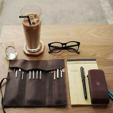 Coffee Roll Leather Makeup Cosmetic Brush Pen Pencil Case Organizer Pouch Bag
