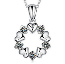 Lovely Lady 925 Sterling Silver Plated Love Heart Flower Zircon Pendant Necklace