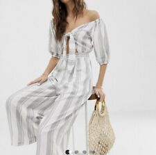Asos Grey And White Striped Cropped Jumpsuit