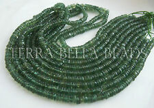 "8"" strand green APATITE smooth gem stone heishi rondelle beads 4.5mm"