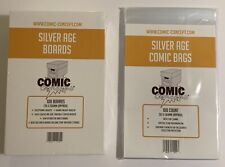 100 x COMIC CONCEPT COMIC BAGS AND BOARDS. SILVER AGE SIZE. FREE P&P!