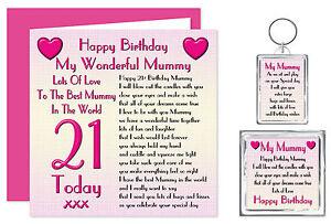 21st Mummy Happy Birthday Gift Set - Card, Keyring & Magnet - 21 Today Lots Love