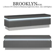 Brooklyn Dusk 2 Drawer TV Cabinet Stand Modern (inc. LED lights) Platinum/Grey