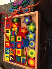 Melissa And Doug Wooden Lacing Beads In Wooden Storage Crate