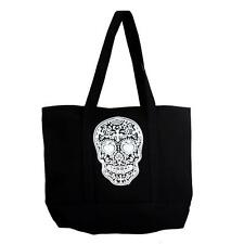 Large Sturdy Black Canvas Tote with White Day of the Dead Skull Gym Bag