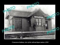 OLD LARGE HISTORIC PHOTO OF CRUMSTOWN INDIANA, THE RAILROAD DEPOT STATION c1910