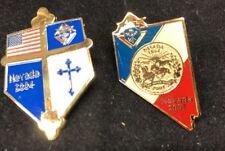 Knights of Columbus Pin Lot of 2 NEVADA 2004 2007 Shield Flag Cross