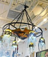 Magnificent Estate Rare Art Deco Art Glass Chandelier w/Overlay - Signed