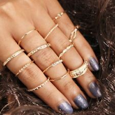 12pcs/set Mid Midi Above Knuckle Ring Band Gold Tip Finger Stacking