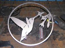 "Hummingbird circle wall art decor steel elegant 15"""