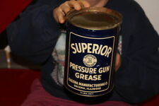 Vintage 1933 Galena Superior Pressure Gun Grease Metal 5 Pound Can Gas Oil Sign
