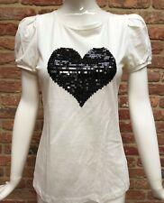 NEXT Off White Sequin Heart 100% Cotton T-shirt Top Size 12 BNWOT