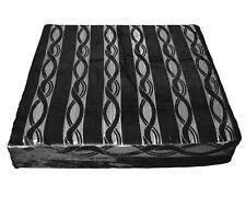 mq03t Silver Metallic Black Wave Stripe Shimmer Velvet 3D Box Seat Cushion Cover