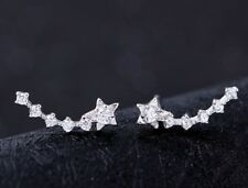 925 Sterling Silver Ear Crawler Stud Climber Earrings Crystal CZ Charm Women K32