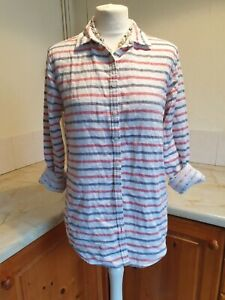 WOMENS TOMMY HILFIGER GREY/RED STRIPE & CONTRASTING SPOTS BLOUSE SHIRT SIZE 8