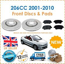 For Peugeot 206CC 2001-2010 Two Front Vented 266MM Brake Discs & Brake Pads Set